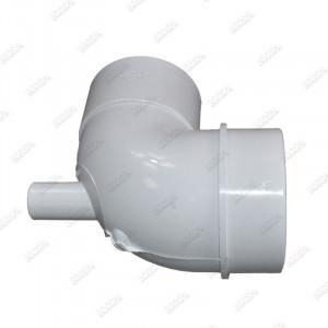 """Coude réducteur 90° 2.5'' vers 2"""" M/F avec injecteur 3/4"""