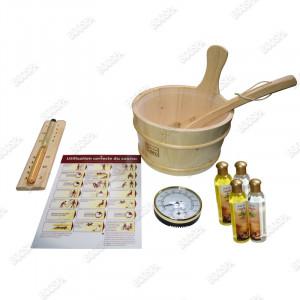 Kit accessoires sauna + huiles essentielles