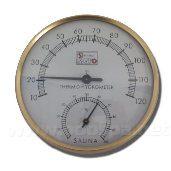 Thermomètre Hygromètre doré pour sauna
