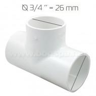 Té 3/4'' PVC pour tuyau de spa