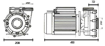 Dimensions pompe spa HSP2200 NBHT