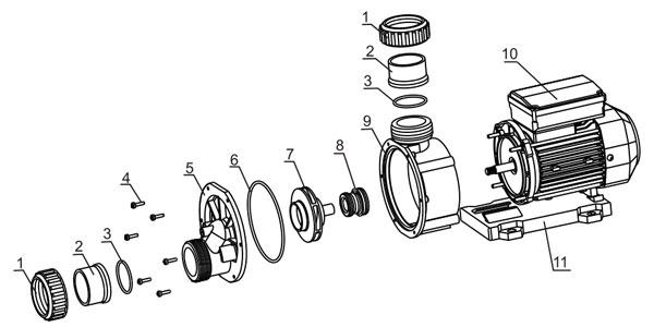 Vue éclatée des pompes de série TDA - LX