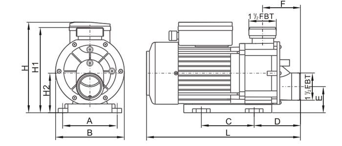 Dimensions pompe TDA LX WHIRLPOOL