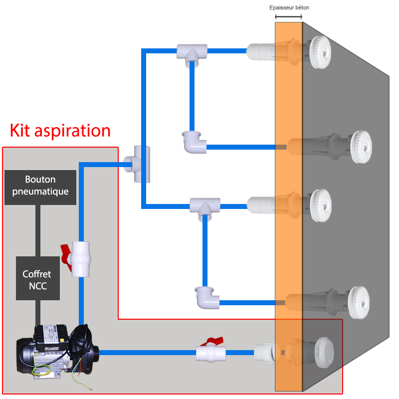 Assembly diagram of a suction kit for concrete spa