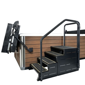 Escalier spa ModStep - Exemple Modstep 4 + Side rail