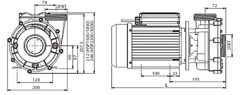 HSP pumps dimensions