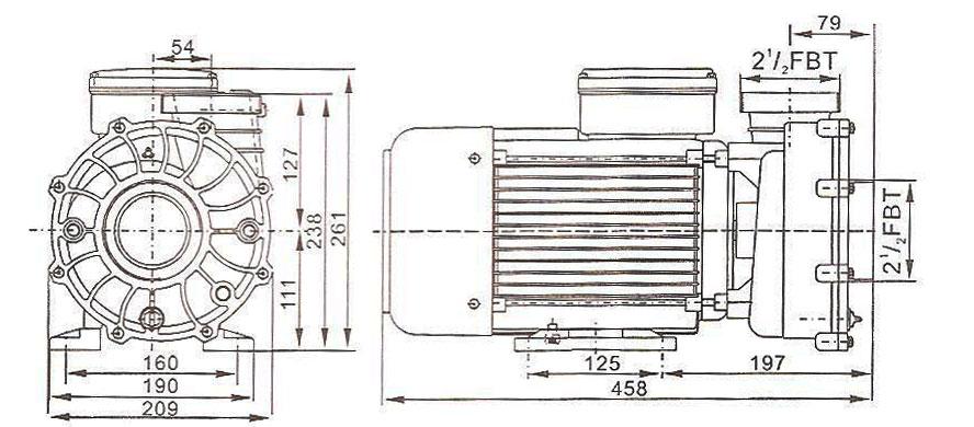 Dimensions pompe spa WP500 Lx Whirpool